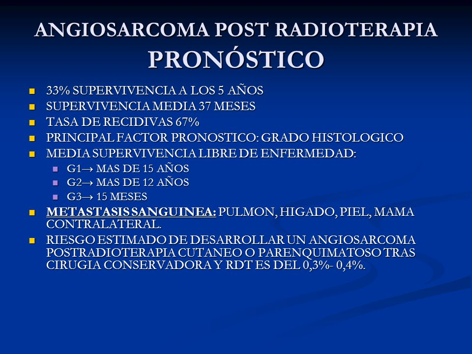 ANGIOSARCOMA POST RADIOTERAPIA PRONÓSTICO