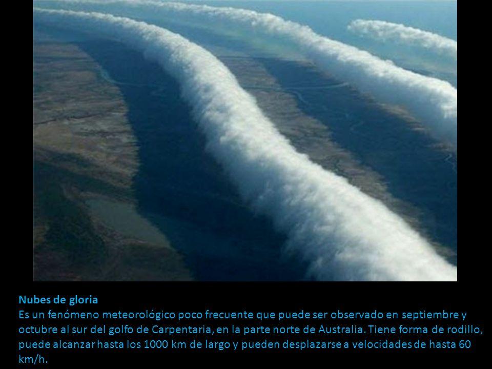 Nubes de gloria Es un fenómeno meteorológico poco frecuente que puede ser observado en septiembre y octubre al sur del golfo de Carpentaria, en la parte norte de Australia.