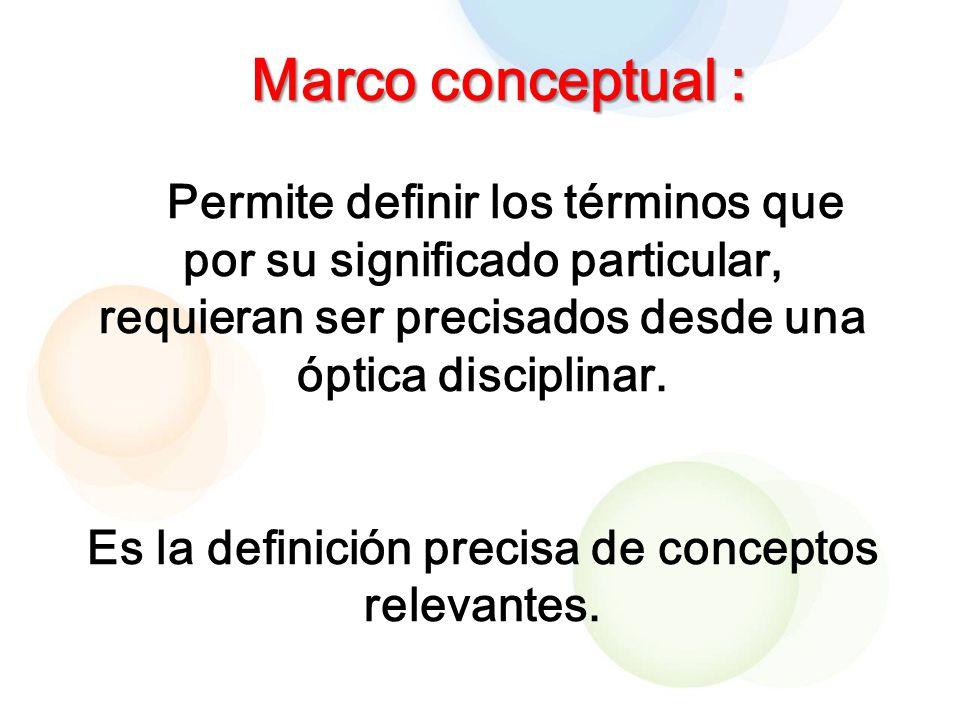 Marco conceptual : Permite definir los términos que por su significado particular, requieran ser precisados desde una óptica disciplinar.