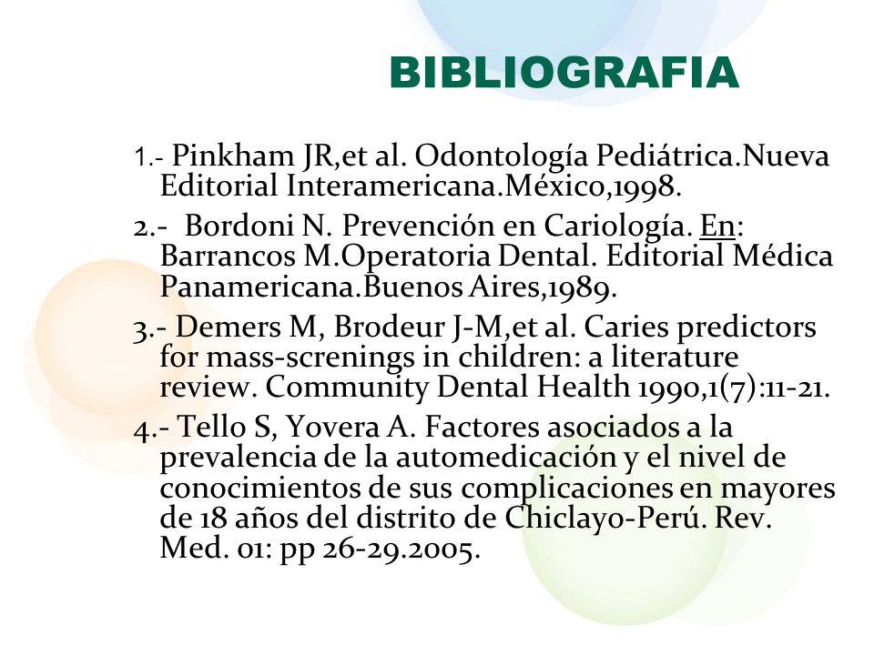 BIBLIOGRAFIA 1.- Pinkham JR,et al. Odontología Pediátrica.Nueva Editorial Interamericana.México,1998.