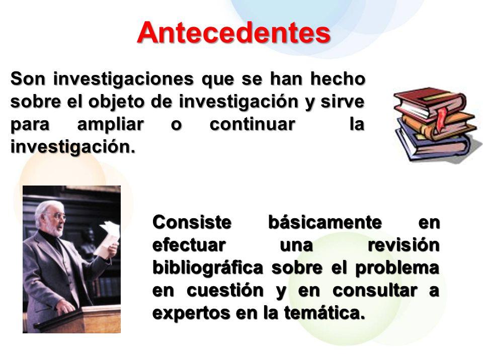 Antecedentes Son investigaciones que se han hecho sobre el objeto de investigación y sirve para ampliar o continuar la investigación.