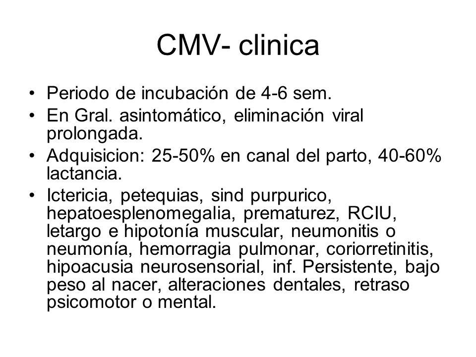 CMV- clinica Periodo de incubación de 4-6 sem.