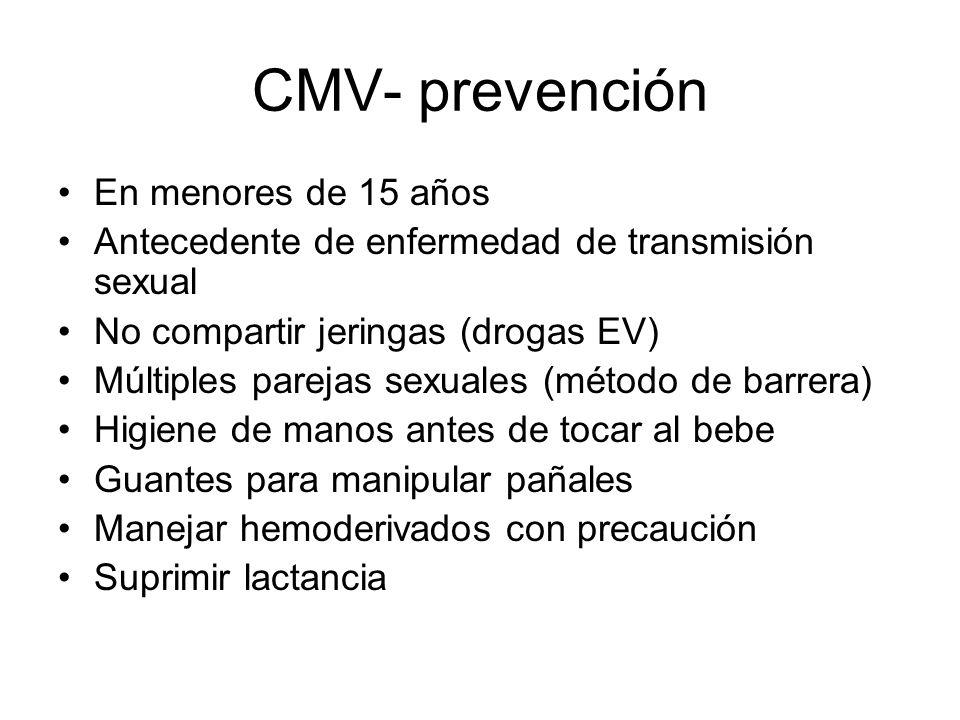 CMV- prevención En menores de 15 años