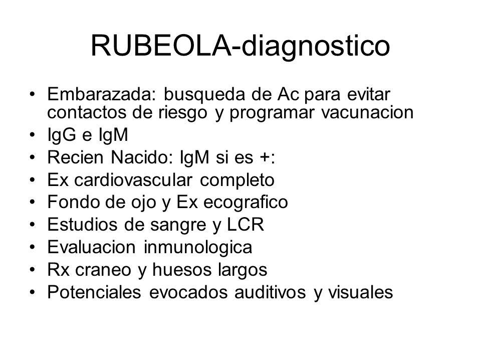 RUBEOLA-diagnostico Embarazada: busqueda de Ac para evitar contactos de riesgo y programar vacunacion.