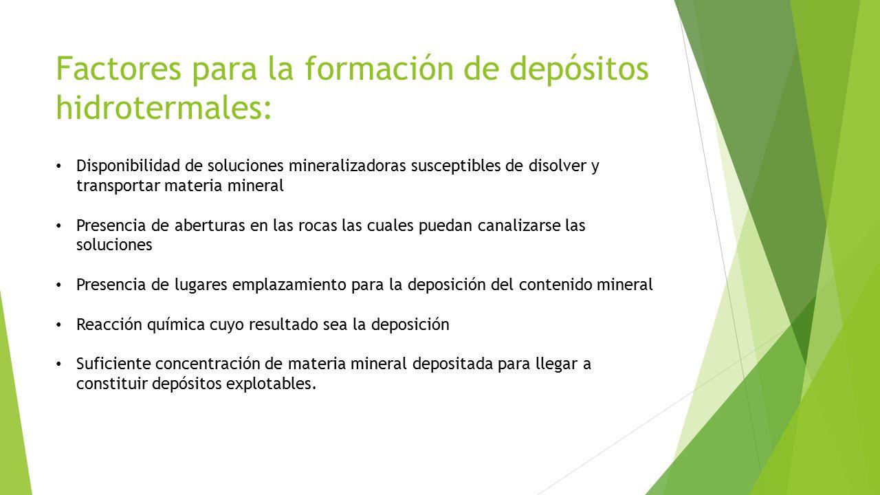 Factores para la formación de depósitos hidrotermales: