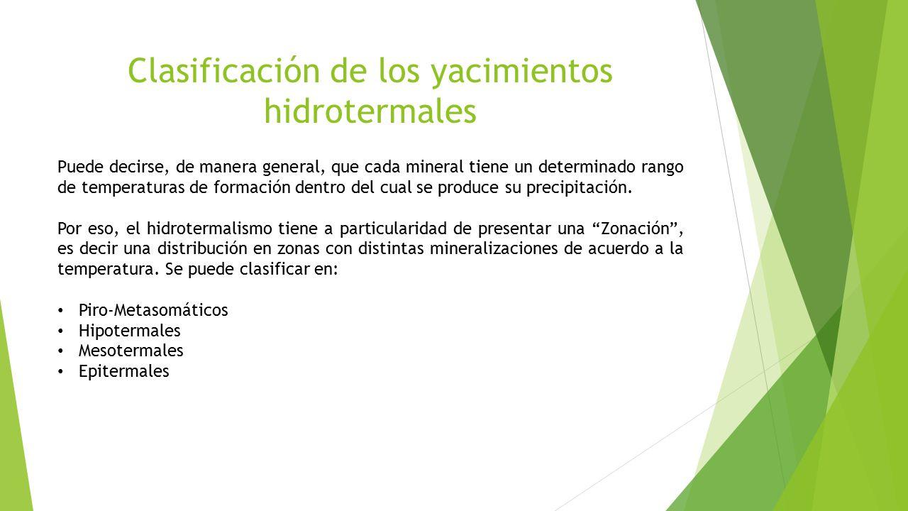 Clasificación de los yacimientos hidrotermales