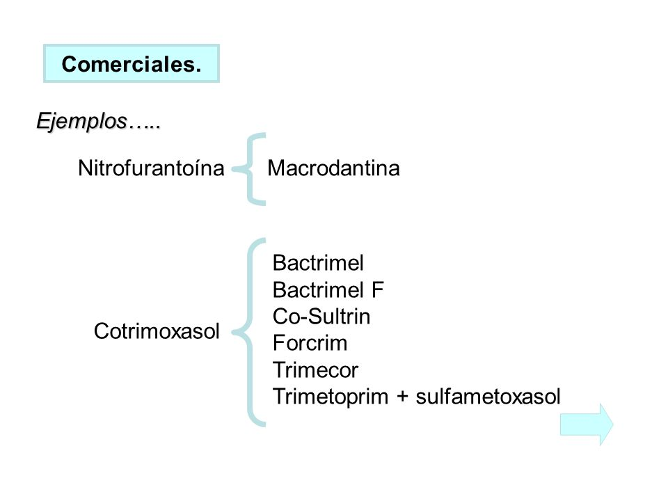 Comerciales. Ejemplos….. Nitrofurantoína. Macrodantina. Bactrimel. Bactrimel F. Co-Sultrin. Forcrim.