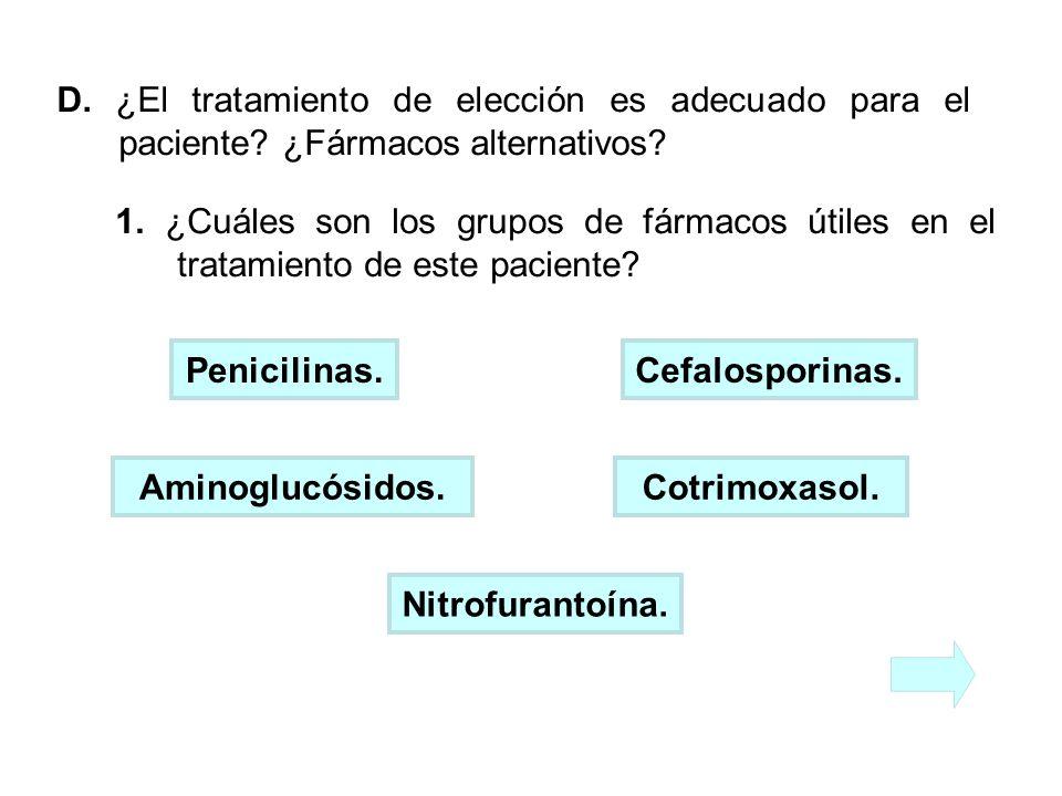 D. ¿El tratamiento de elección es adecuado para el paciente
