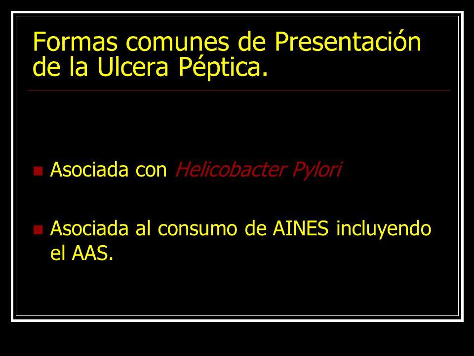 Formas comunes de Presentación de la Ulcera Péptica.