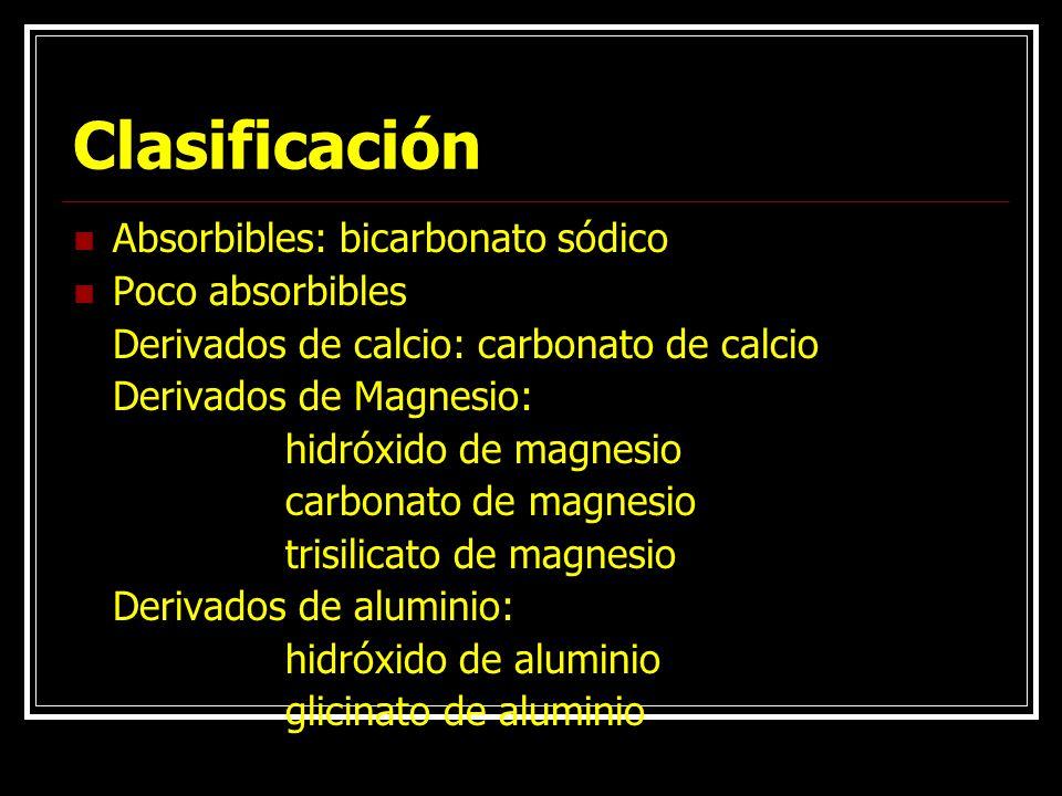Clasificación Absorbibles: bicarbonato sódico Poco absorbibles