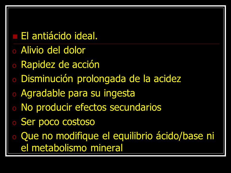 El antiácido ideal. Alivio del dolor. Rapidez de acción. Disminución prolongada de la acidez. Agradable para su ingesta.