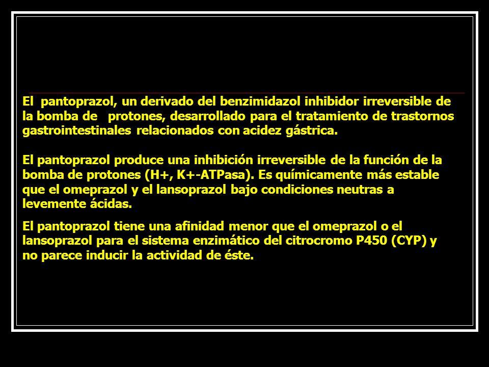 El pantoprazol, un derivado del benzimidazol inhibidor irreversible de la bomba de protones, desarrollado para el tratamiento de trastornos gastrointestinales relacionados con acidez gástrica. El pantoprazol produce una inhibición irreversible de la función de la bomba de protones (H+, K+-ATPasa). Es químicamente más estable que el omeprazol y el lansoprazol bajo condiciones neutras a levemente ácidas.