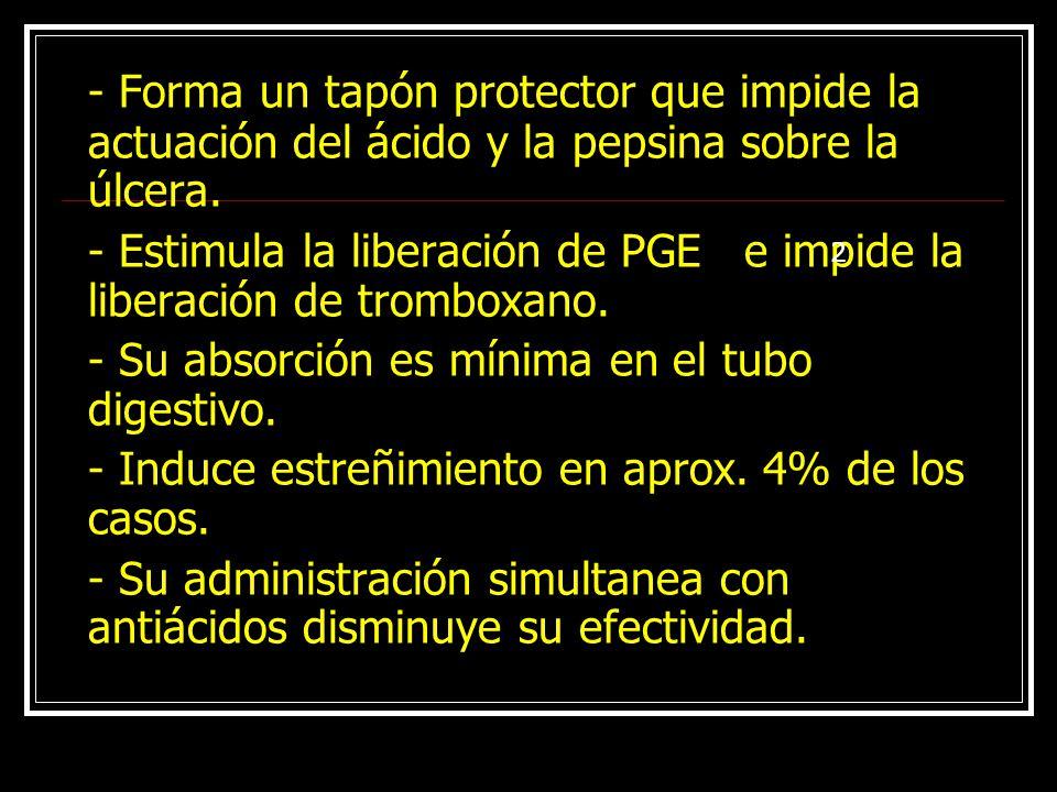 - Estimula la liberación de PGE e impide la liberación de tromboxano.
