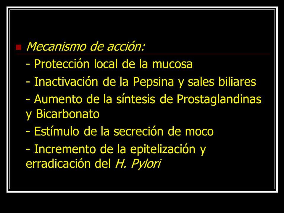 Mecanismo de acción: - Protección local de la mucosa. - Inactivación de la Pepsina y sales biliares.