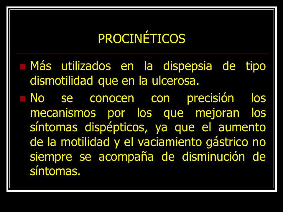 PROCINÉTICOS Más utilizados en la dispepsia de tipo dismotilidad que en la ulcerosa.
