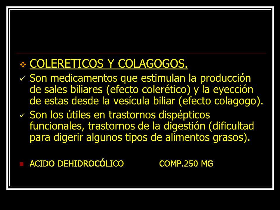 COLERETICOS Y COLAGOGOS.