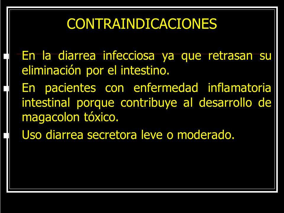 CONTRAINDICACIONES En la diarrea infecciosa ya que retrasan su eliminación por el intestino.