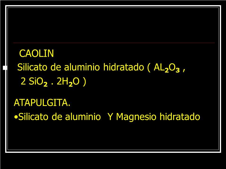 CAOLIN Silicato de aluminio hidratado ( AL2O3 , 2 SiO2 . 2H2O )