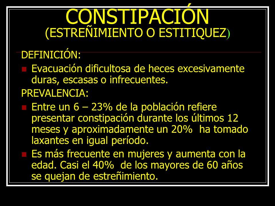 CONSTIPACIÓN (ESTREÑIMIENTO O ESTITIQUEZ)