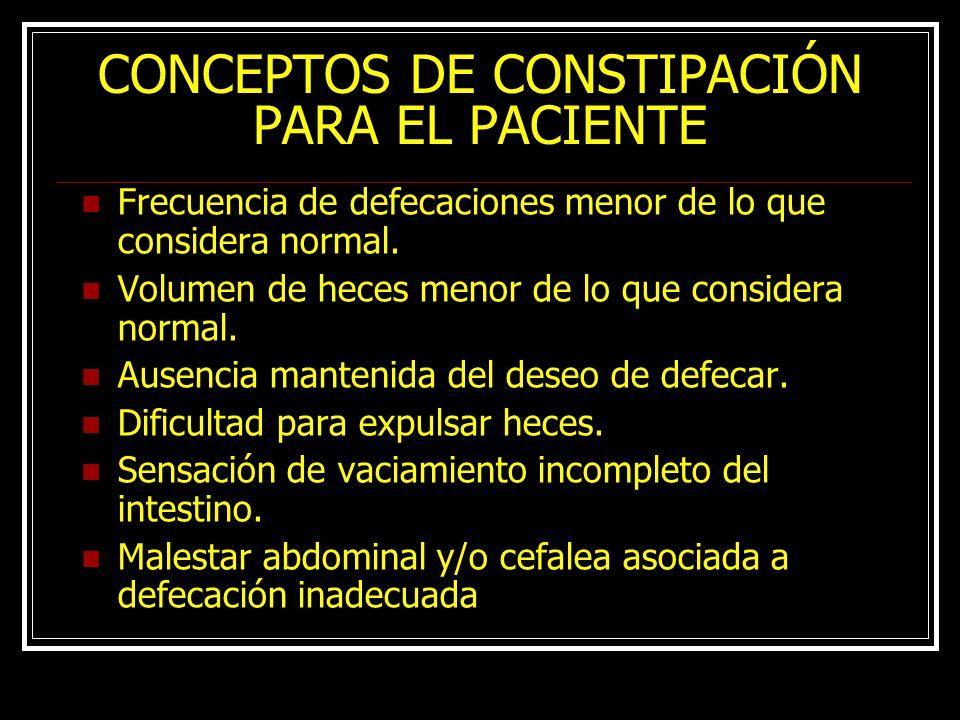 CONCEPTOS DE CONSTIPACIÓN PARA EL PACIENTE