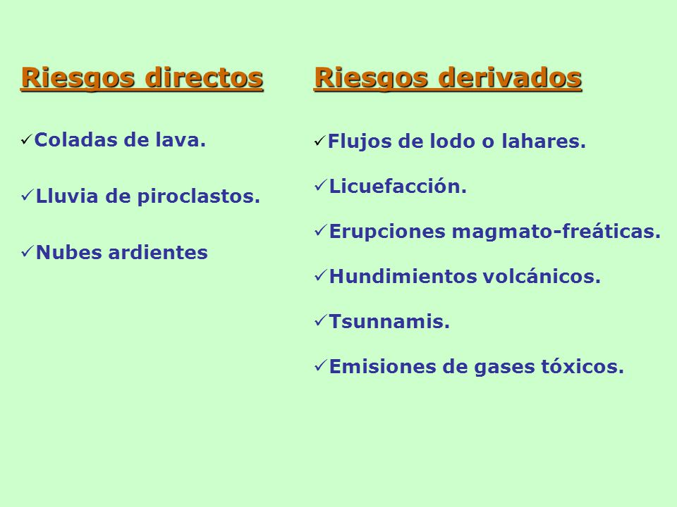 Riesgos directos Riesgos derivados Lluvia de piroclastos.