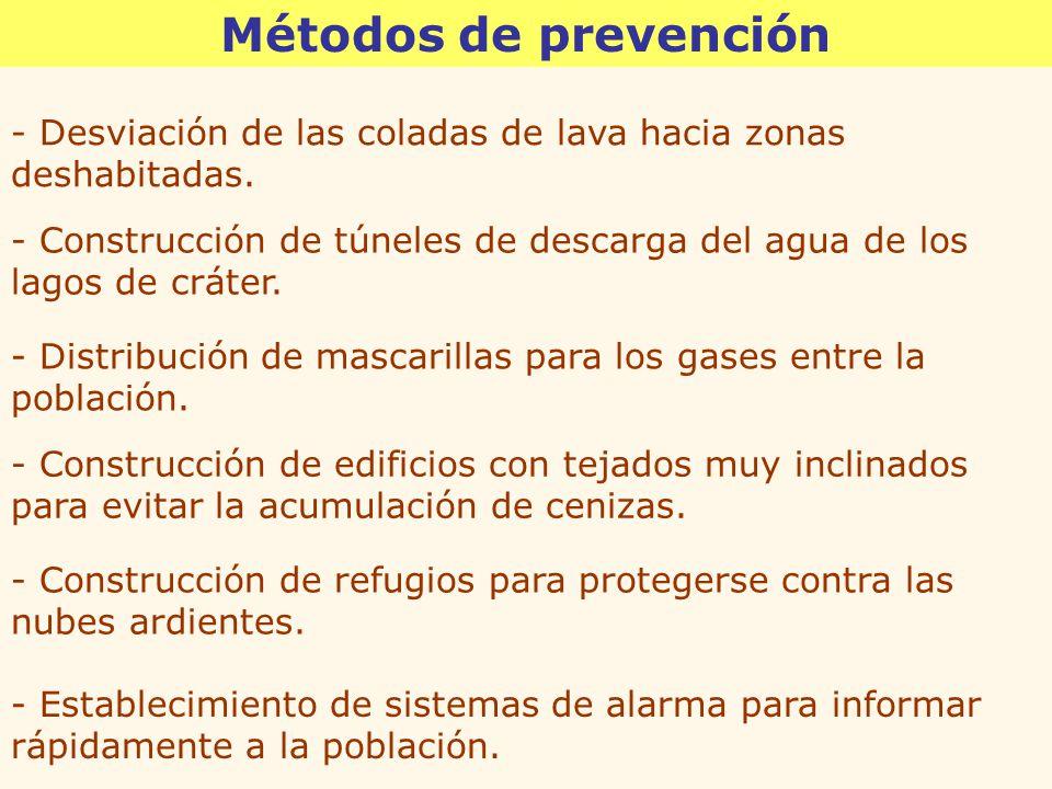 Métodos de prevención - Desviación de las coladas de lava hacia zonas deshabitadas.