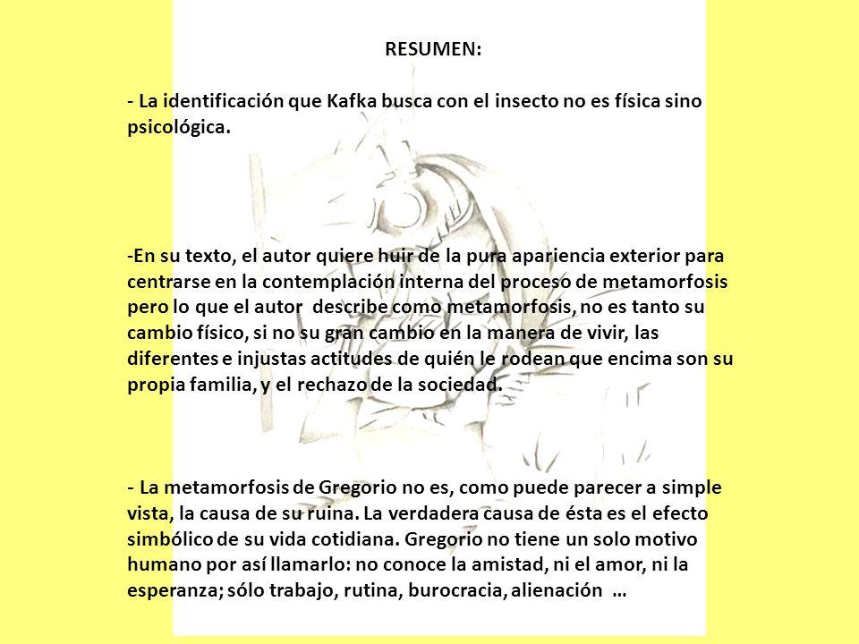 RESUMEN: - La identificación que Kafka busca con el insecto no es física sino psicológica.