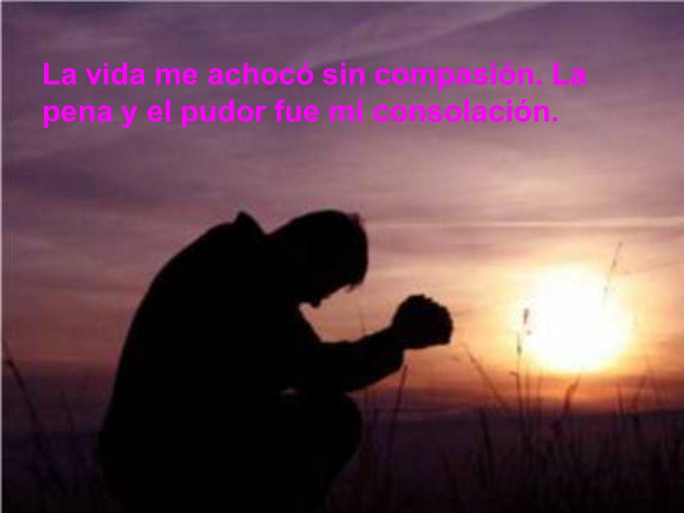 La vida me achocó sin compasión. La pena y el pudor fue mi consolación.