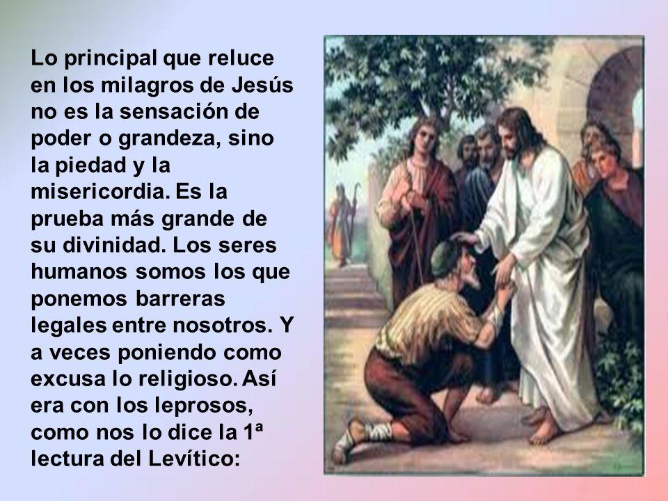Lo principal que reluce en los milagros de Jesús no es la sensación de poder o grandeza, sino la piedad y la misericordia.
