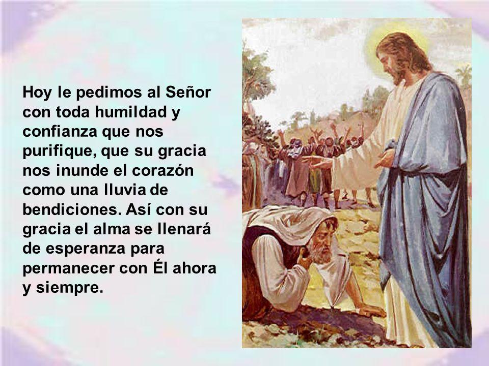 Hoy le pedimos al Señor con toda humildad y confianza que nos purifique, que su gracia nos inunde el corazón como una lluvia de bendiciones.