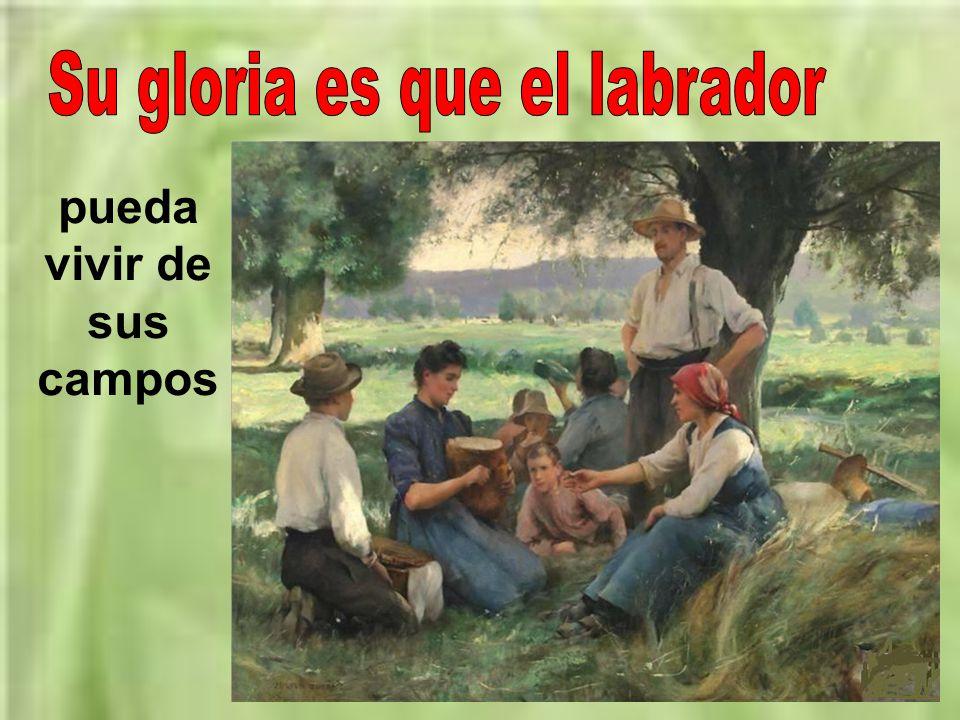 Su gloria es que el labrador pueda vivir de sus campos