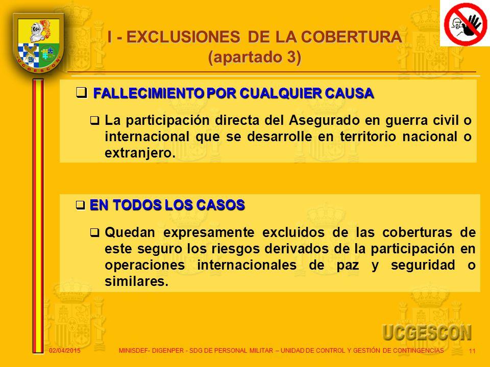I - EXCLUSIONES DE LA COBERTURA