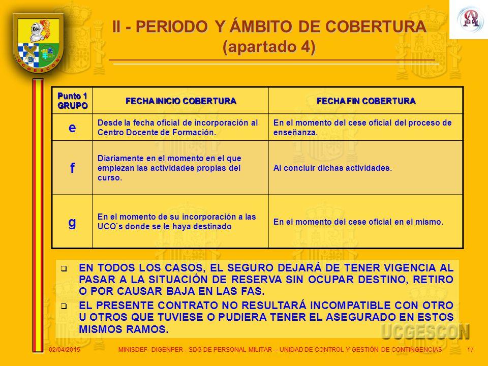 II - PERIODO Y ÁMBITO DE COBERTURA FECHA INICIO COBERTURA
