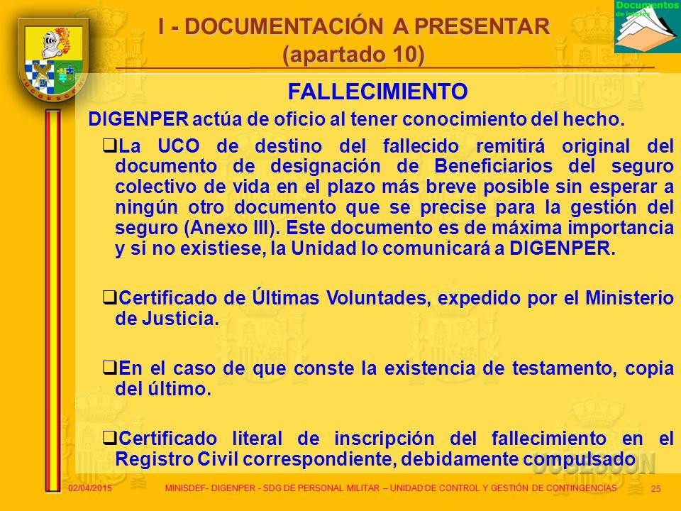 I - DOCUMENTACIÓN A PRESENTAR