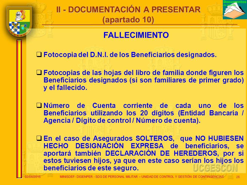 II - DOCUMENTACIÓN A PRESENTAR