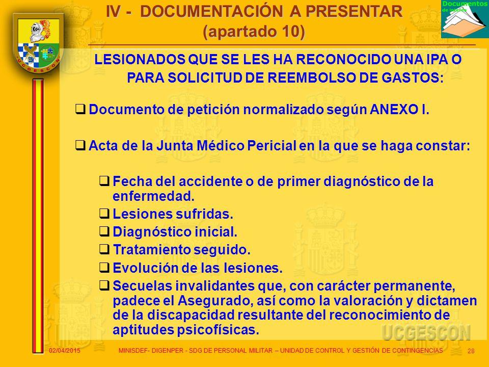 IV - DOCUMENTACIÓN A PRESENTAR