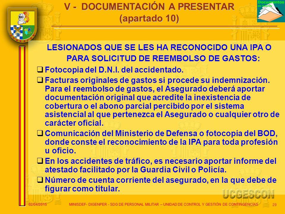 V - DOCUMENTACIÓN A PRESENTAR (apartado 10)