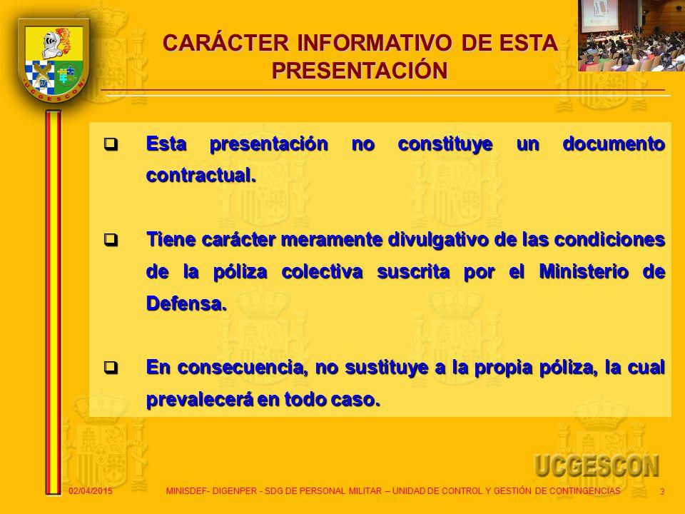 CARÁCTER INFORMATIVO DE ESTA PRESENTACIÓN