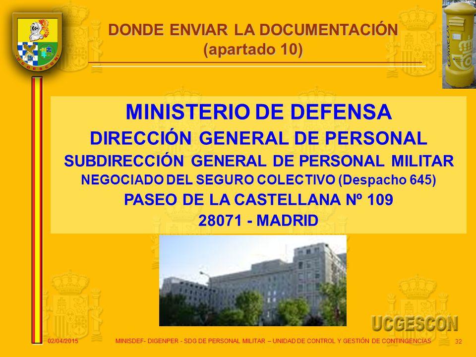 MINISTERIO DE DEFENSA DIRECCIÓN GENERAL DE PERSONAL