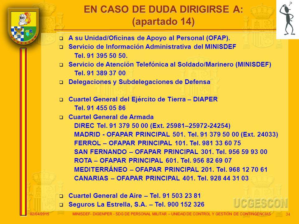 EN CASO DE DUDA DIRIGIRSE A: