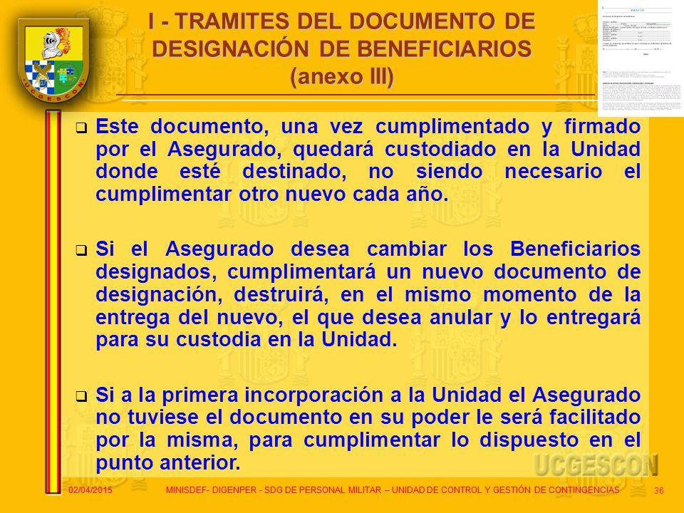 I - TRAMITES DEL DOCUMENTO DE DESIGNACIÓN DE BENEFICIARIOS