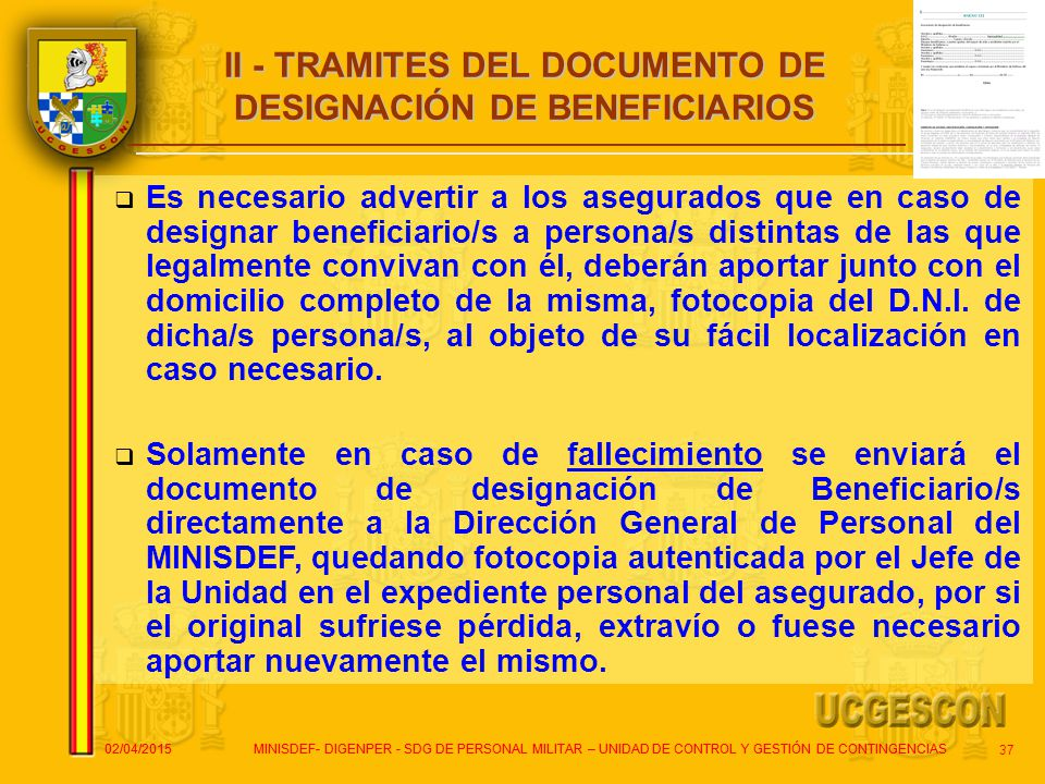 II - TRAMITES DEL DOCUMENTO DE DESIGNACIÓN DE BENEFICIARIOS