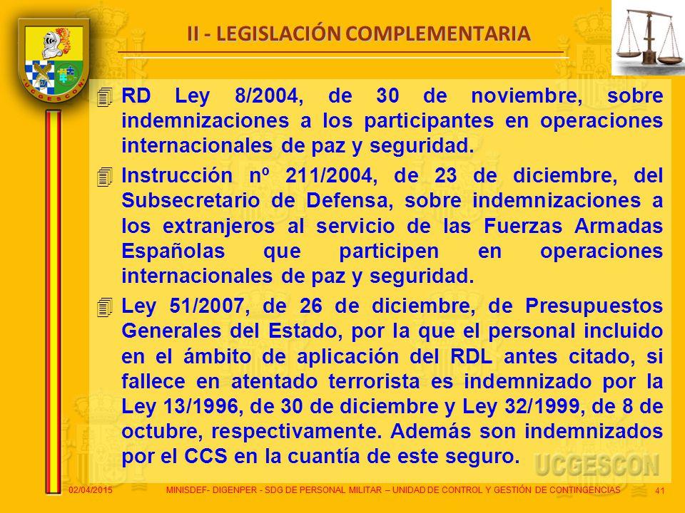 II - LEGISLACIÓN COMPLEMENTARIA