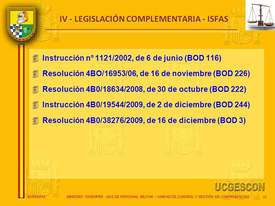 IV - LEGISLACIÓN COMPLEMENTARIA - ISFAS