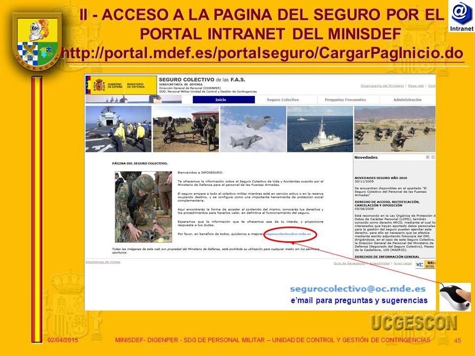 II - ACCESO A LA PAGINA DEL SEGURO POR EL PORTAL INTRANET DEL MINISDEF