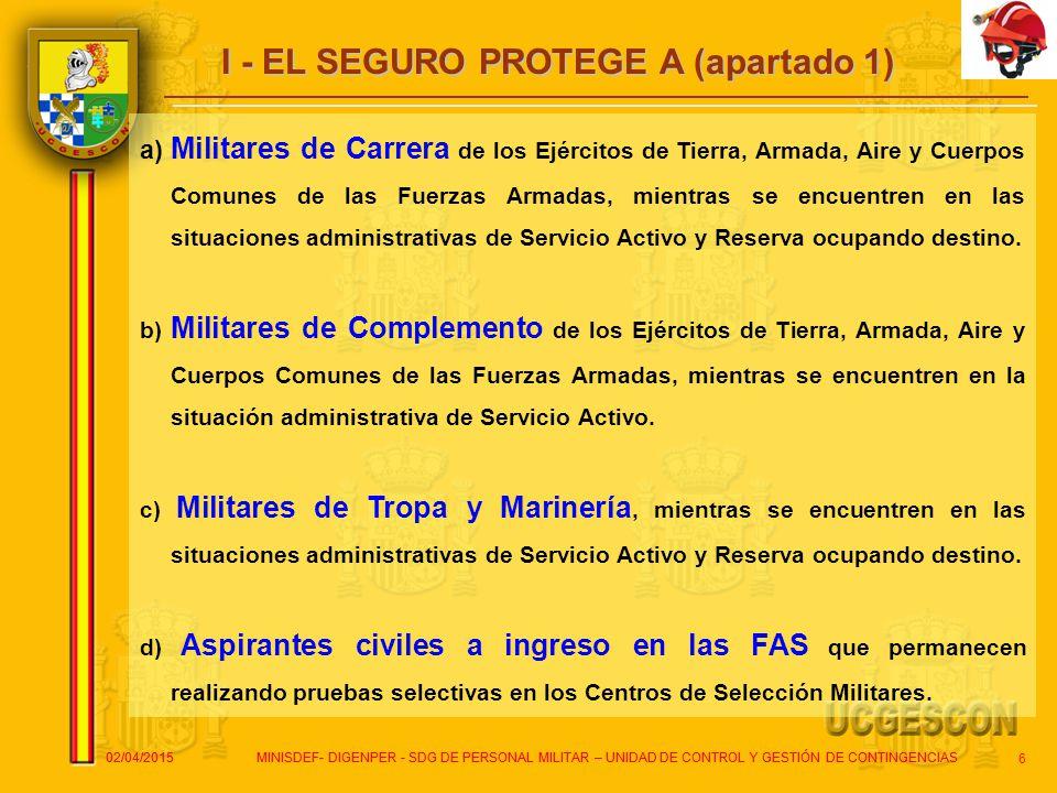 I - EL SEGURO PROTEGE A (apartado 1)