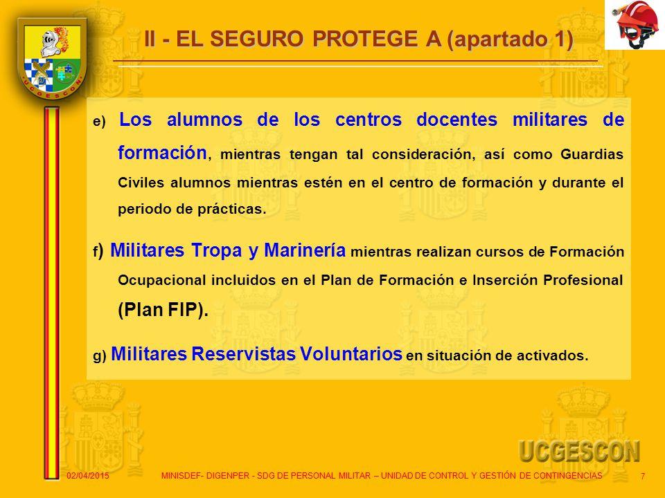 II - EL SEGURO PROTEGE A (apartado 1)