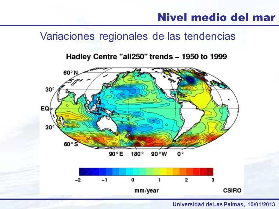 Nivel medio del mar Variaciones regionales de las tendencias