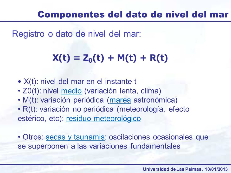 Componentes del dato de nivel del mar