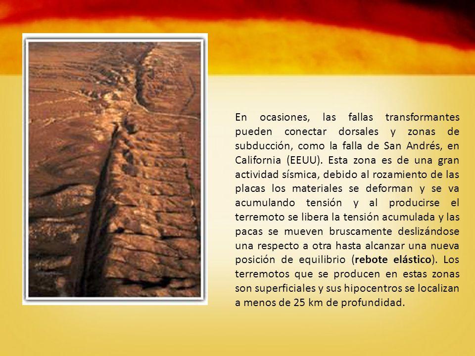 En ocasiones, las fallas transformantes pueden conectar dorsales y zonas de subducción, como la falla de San Andrés, en California (EEUU).